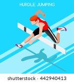 athlete male run hurdle long... | Shutterstock .eps vector #442940413