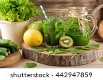 fresh green smoothie with... | Shutterstock . vector #442947859
