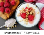 raspberry flavored greek yogurt ... | Shutterstock . vector #442949818
