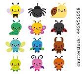 Vector Set Of Cartoon Cute Bug...