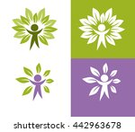 abstract symbol with green man... | Shutterstock .eps vector #442963678