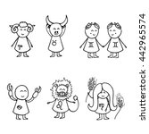 hand drawn zodiac icon set.... | Shutterstock .eps vector #442965574