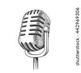 vintage microphone hand drawn... | Shutterstock .eps vector #442969306