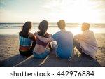 four friends enjoying the... | Shutterstock . vector #442976884