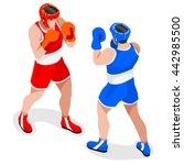 boxing players fighting... | Shutterstock .eps vector #442985500