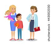 woman with children visit... | Shutterstock . vector #443002030