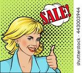 sale bubble pop art  woman face ... | Shutterstock .eps vector #443003944
