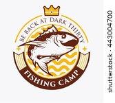fishing badge template. vintage ... | Shutterstock .eps vector #443004700