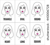 set of different face shapes.... | Shutterstock .eps vector #443006728