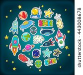 space patches set colorful... | Shutterstock .eps vector #443008678