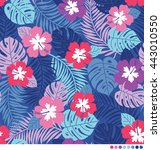 vector pattern with hibiscus... | Shutterstock .eps vector #443010550