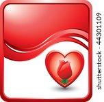 rose inside heart red wave... | Shutterstock .eps vector #44301109
