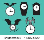 set of halloween wall clock ... | Shutterstock .eps vector #443025220