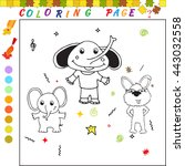 coloring book with cartoon... | Shutterstock . vector #443032558