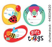 gift tags with cute insects for ... | Shutterstock .eps vector #443034820