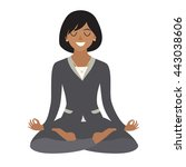 business woman meditating.... | Shutterstock .eps vector #443038606