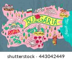illustrated map of bulgaria.... | Shutterstock .eps vector #443042449