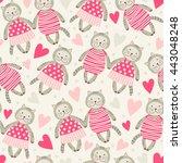 seamless pattern with kittens... | Shutterstock .eps vector #443048248