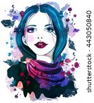 portrait of beautiful girl with ... | Shutterstock . vector #443050840