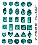 set of realistic blue amethyst... | Shutterstock .eps vector #443052694