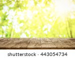 wood table top on shiny... | Shutterstock . vector #443054734