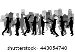 silhouette of a man with boxes. | Shutterstock .eps vector #443054740