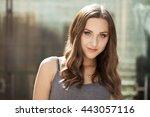 closeup portrait of a happy... | Shutterstock . vector #443057116