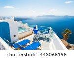 white architecture on santorini ... | Shutterstock . vector #443068198