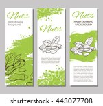 three vector flyers with linear ... | Shutterstock .eps vector #443077708