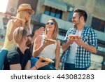 close up of four young cheerful ... | Shutterstock . vector #443082283
