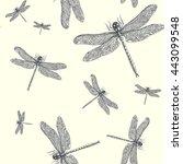 dragonflies. vector seamless... | Shutterstock .eps vector #443099548