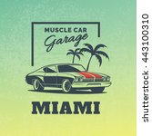 classic muscle car logo on... | Shutterstock .eps vector #443100310