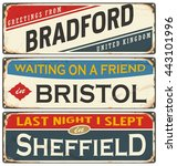 vintage metal signs collection... | Shutterstock .eps vector #443101996
