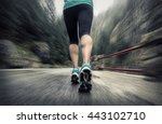 running on the road around... | Shutterstock . vector #443102710
