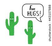 cactus. free hugs. vector...