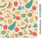 seamless pattern with fruits... | Shutterstock .eps vector #443108089