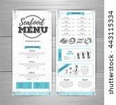 vintage seafood menu design.  | Shutterstock .eps vector #443115334