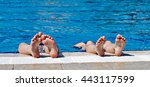 children's feet in a spray of... | Shutterstock . vector #443117599
