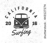 california surfing. retro badge.... | Shutterstock .eps vector #443127274