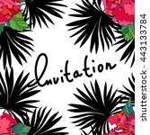 tropical pattern with palm... | Shutterstock .eps vector #443133784