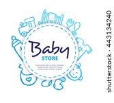 vector baby icons circle... | Shutterstock .eps vector #443134240