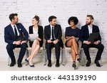 happy business people waiting... | Shutterstock . vector #443139190