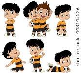 cartoon soccer kid with...   Shutterstock .eps vector #443145526