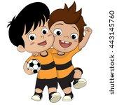 cartoon soccer kids.two... | Shutterstock .eps vector #443145760