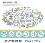 marine life concept...   Shutterstock .eps vector #443147449