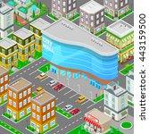 isometric city mall. modern...   Shutterstock .eps vector #443159500