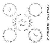 set of floral circular frames.... | Shutterstock .eps vector #443159650