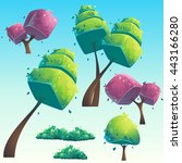 set of isolated cartoon natural ... | Shutterstock .eps vector #443166280