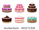 set of colorful icons with... | Shutterstock .eps vector #443171320