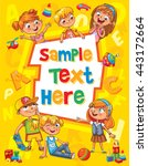 Children book cover. Template for advertising brochure. Ready for your message. Children look up with interest. Kid pointing at a blank template. Funny cartoon character. Vector illustration | Shutterstock vector #443172664